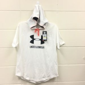Under Armour Hooded Short Sleeve Shirt White NWT